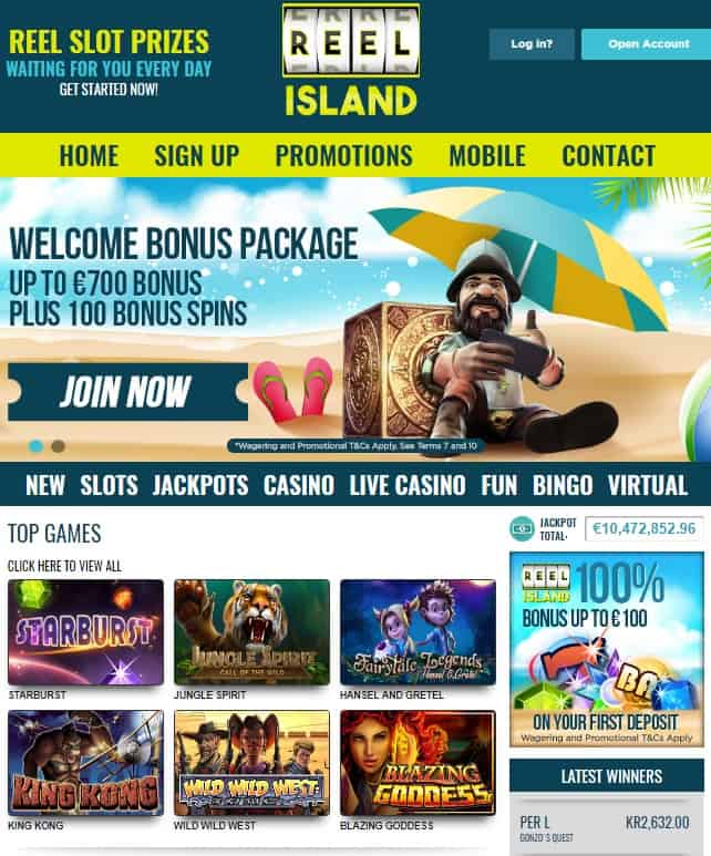 Reel Island Casino £€$ 700 free bonus and 100 free spins - CLOSED!