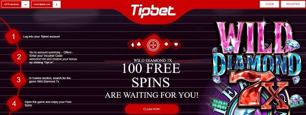 100 free spins on Wild Diamond slot