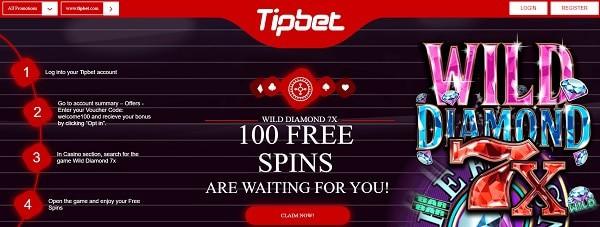 100 free spins on Wild Diamond slot