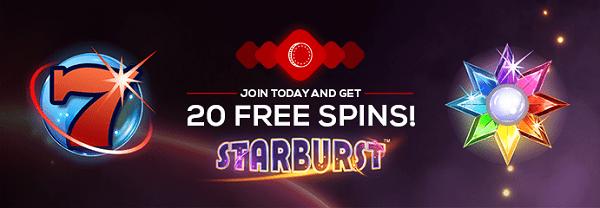 20 free spins on Starburst