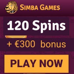 SIMBA GAMES   10 gratis spins + 120 free spins + €300 casino bonus