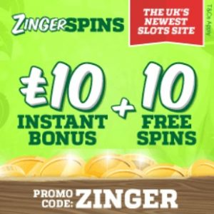 Zinger Spins Casino   £10 gratis and 10 free spins   PC & Mobile