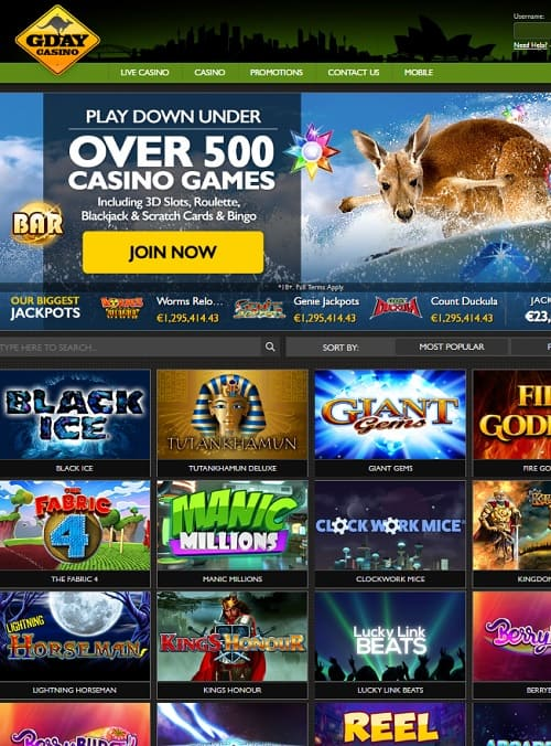 Gday Casino free play