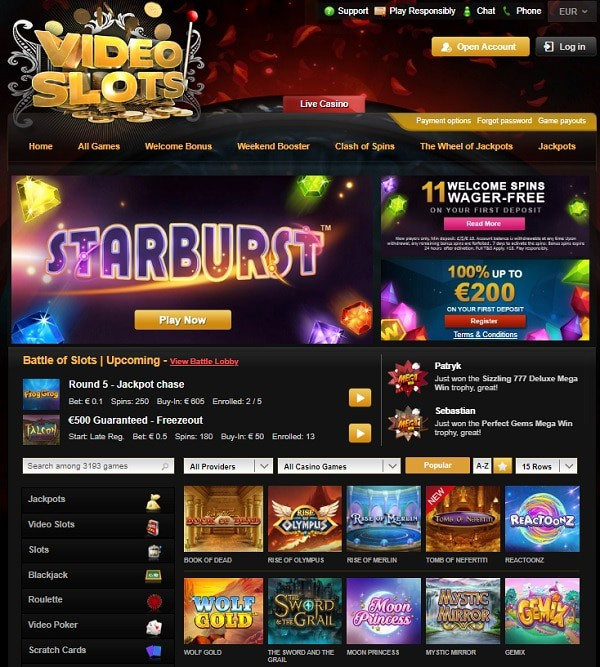 Videoslots register and login to play!
