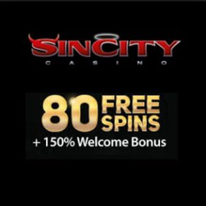 SIN CITY CASINO - 80 free spins and 325% up to €575 welcome bonus