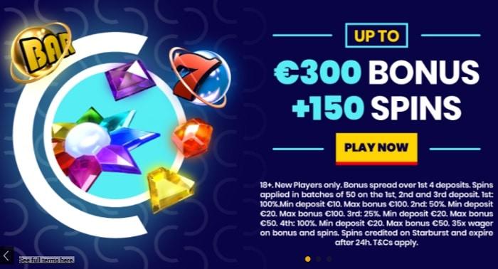 150 free spins on Starburst