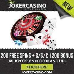 JOKER CASINO - 210 free spins and $/£/€ 1,200 exclusive bonus