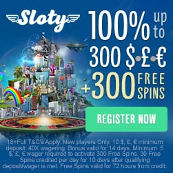 SLOTY CASINO - 300 free spins & 200% up to €1,500 - exclusive bonus!