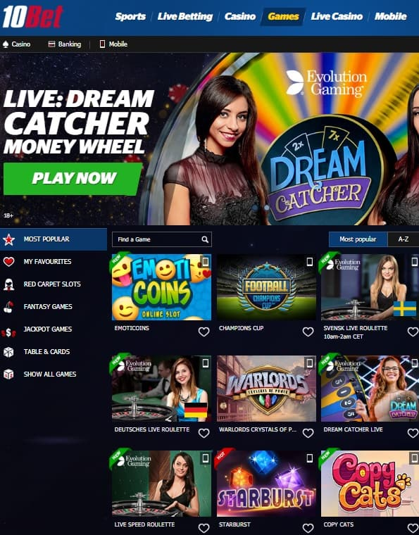 10Bet Casino free bonus
