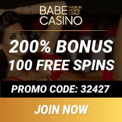 BABE CASINO - 100 free spins & 100% up to $/€2500 VIP free bonus