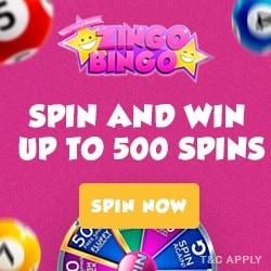 ZINGO BINGO - 500 free spins and £3,000 bonus in prize draws