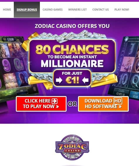 Zodiac Casino Online - free games, gratis spins, no deposit bonus
