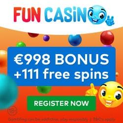 Fun Casino 11 FS gratis plus 100 free spins and €998 welcome bonus
