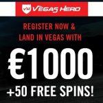 Vegas Hero Casino [review] 50 free spins and €1000 bonus codes