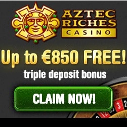 Aztec Riches Casino 100 free spins + 100% up to €/$850 free bonus