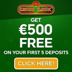 Casino Classic 100 free spins + 325% up to $/€500 free bonus