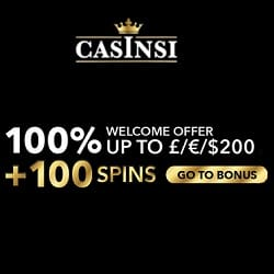 Casinsi Casino 100 free spins & €200 bonus on first deposit