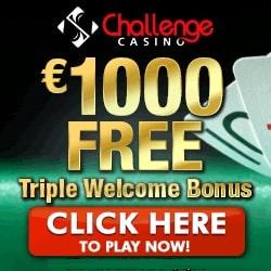 Challenge Casino 100 free spins and 175% up to €/$1000 free bonus