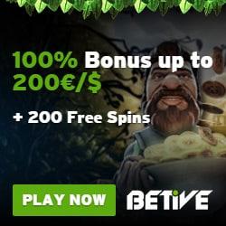Betive Casino 200 free spins bonus - play to win jackpots!