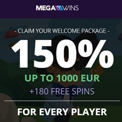MEGAWINS - 180 gratis spins and 150% bonus up to €1,000 or 1 BTC