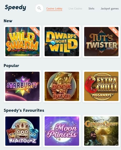 Speedy Casino - free bonus, no registration, no wagering, instant payments