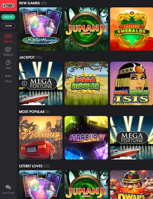 LetsBet Casino free spins