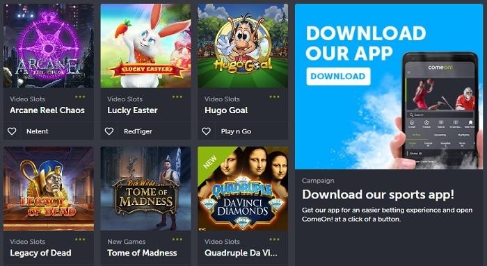 ComeOn Mobile Casino and App