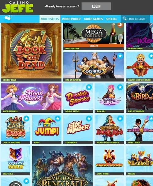 CasinoJefe.com 11 free spins on registration no deposit bonus
