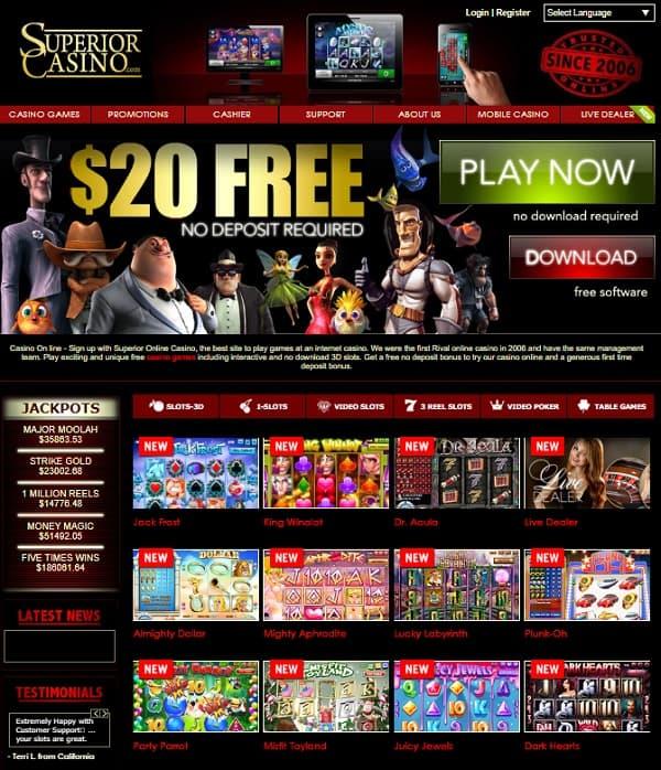 Superior Casino $20 free chip bonus