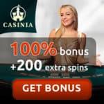 Casinia Casino 200 free spins bonus on registration!