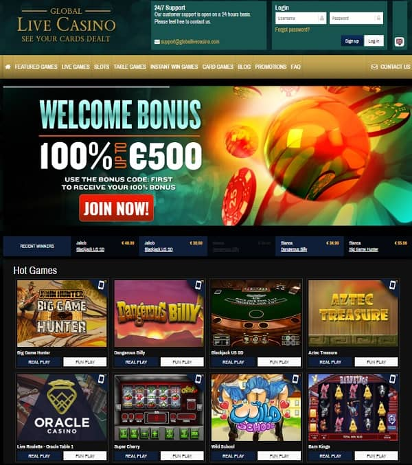 Global Live Casino €500 GRATIS