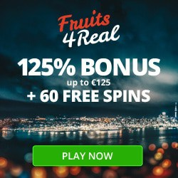 Fruits4Real Casino 60 free spins and 125% first deposit bonus