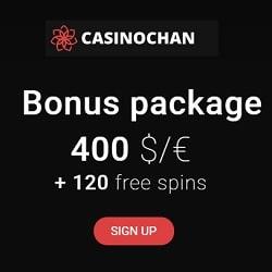 Casinochan [register & login] 120 free spins bonus codes