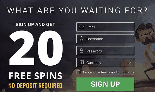20 gratis spins no deposit bonus