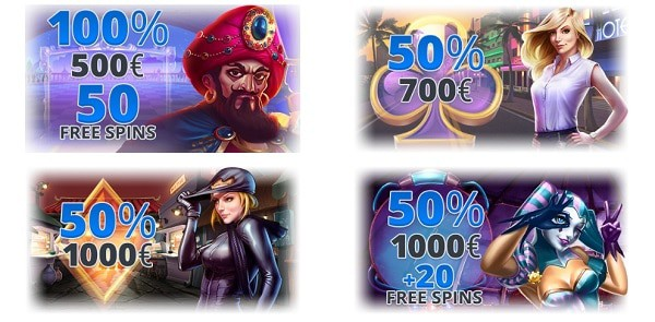100% welcome bonus and 50 free spins