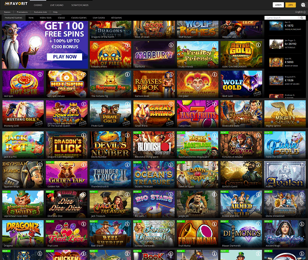 Mr Favorit Casino 100% bonus and 100 free spins on 1st deposit