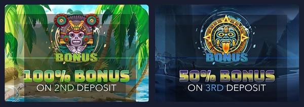 100% bonus on 2nd deposit and 50% on 3rd deposit