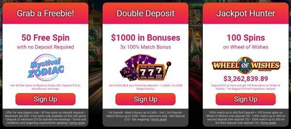 Choose your welcome bonus