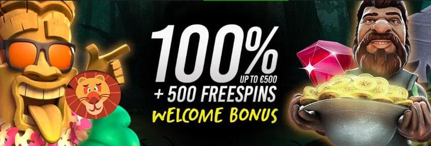 100% bonus and 500 free spins on deposit