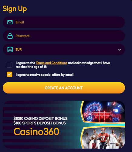 Register here and play with free money!