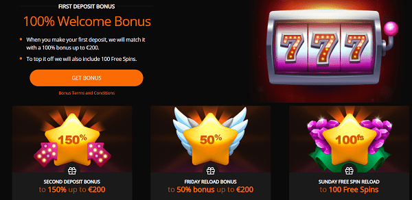 150 free spins and 150% up to 400 EUR welcome bonus