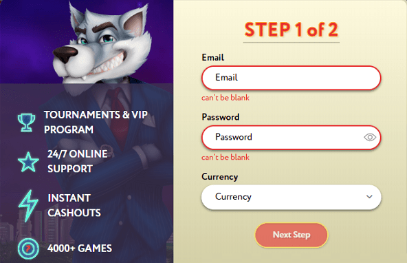 Register at Slot Wolf and get free spins