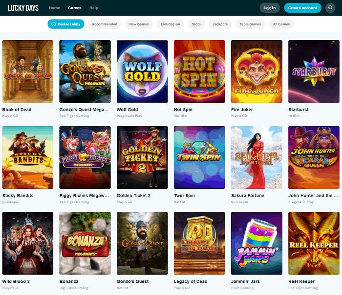Lucky Days Online Casino Free Spins Bonus