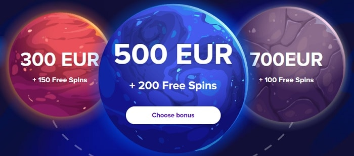 300 EUR, 500 EUR, and 700 EUR in welcome bonus