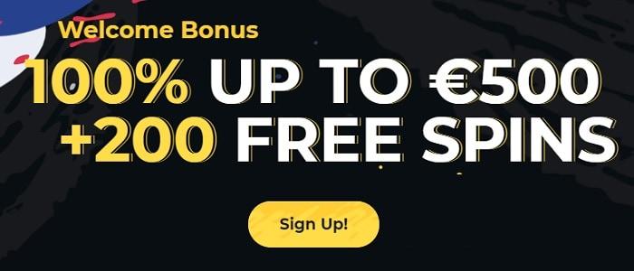 500 EUR bonus and 200 free spins