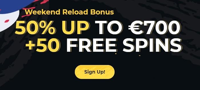 50% bonus and 50 free spins