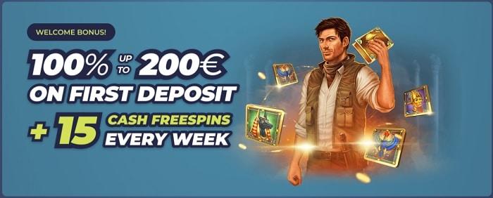 100% bonus and 15 FS every week