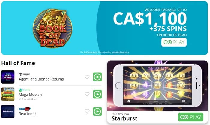Get $1100 bonus and 375 gratis spins