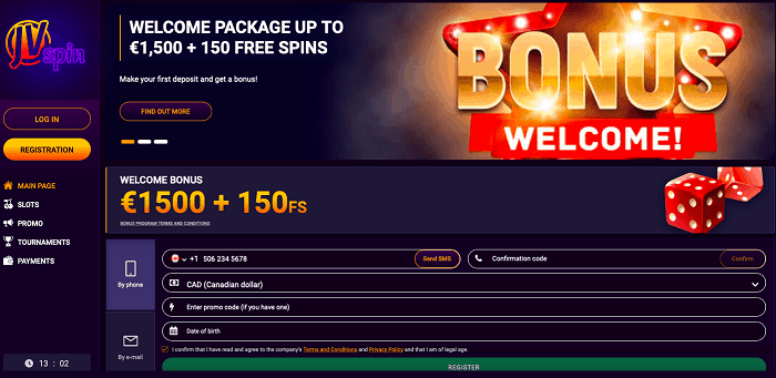 Get 1500 EUR welcome bonus at JVSpin.com