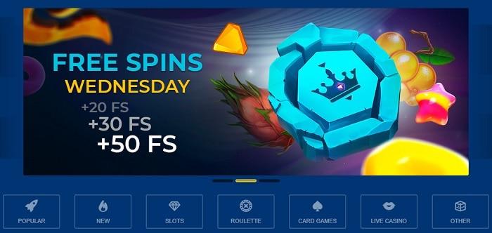 Golden Crown Casino Free Spins Wednesday